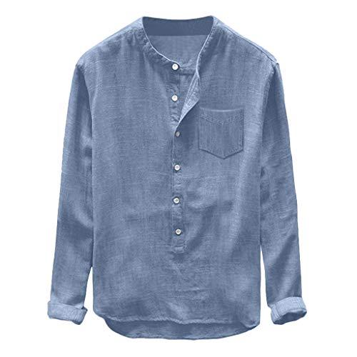 FRAUIT Camicia Uomo Regular Fit Manica Lunga Collo Coreana T Shirt in Lino Ragazzo Camicie Uomini Maniche Lunghe Estive Magliette Coreana Maglietta Lino con Bottoni Camicia Slim Fit Elasticizzata