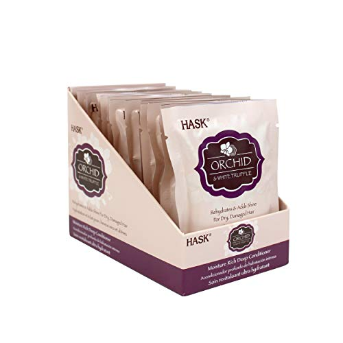HASK ORCHID & WHITE TRUFFLE Moisturizing Deep Conditioner Treatments for all hair types, color safe, gluten free, sulfate free, paraben free - Pack of 12