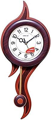 Oreva Plastic Pendulum Wall Clock (49 cm x 20 cm x 6.5 cm, Brown, AQ-2237)