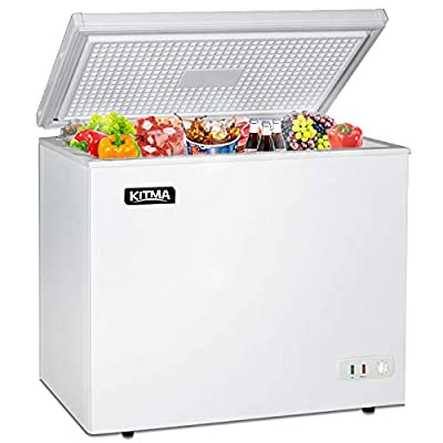 Commercial Chest Freezer - Kitma 9.6 Cu. Ft Deep Ice Cream Freezer with 2 Storage Baskets, Adjustable Thermostat, Lock,Rollers, White