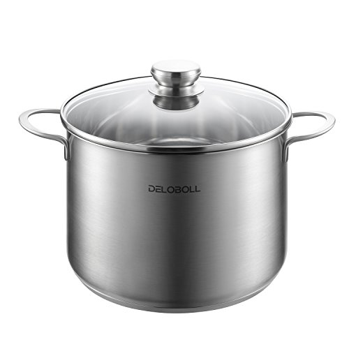 DELOBOLL Stainless Steel Stockpot Soup Pot Nonstick Large Stock pot, Tri-Ply Covered Stockpot Classic Saucepot Cooking Pot with Lid (3.5 Quart)