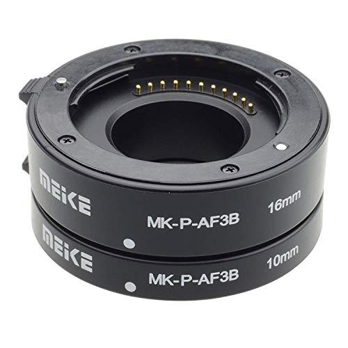 Meike MK-P-AF3B, Juego de 3anillos adaptadores para cámara réflex digital Panasonic, Negro
