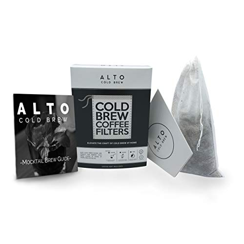 Alto Cold Brew No Mess Disposable Cold Brew Coffee Filters - 35 PACK - With Mocktail Brew Guide - Cleaner, Brighter Cold Brew, Without the Cleanup - (1 Quart Personal Size)