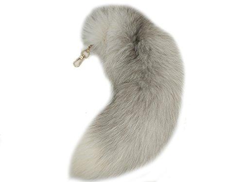 generisch Fuchsschwanz Anhänger Weiß Fell Schwanz Schlüsselanhänger Groß Schlüsselring Tasche Zusätze Anhänger Auto Schlüsselketten Weich Flaumig Dekoration etwa 40cm