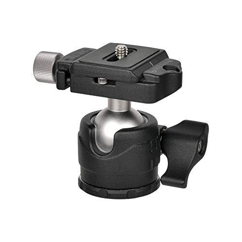 MENGS H-28 Cabezal de Bola de bajo Perfil + Abrazadera + Placa de liberación rápida con fundición de Aluminio para cámara sin Espejo Cámara DSLR y Cabezal de trípode