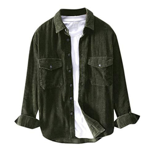 Binggong Herren Corduroy Hemd Männer Cord Outdoor Langarm Freizeithemd mit Brusttasche,Button Down Longshirts Tunika Tops Oberteile Flanellhemd