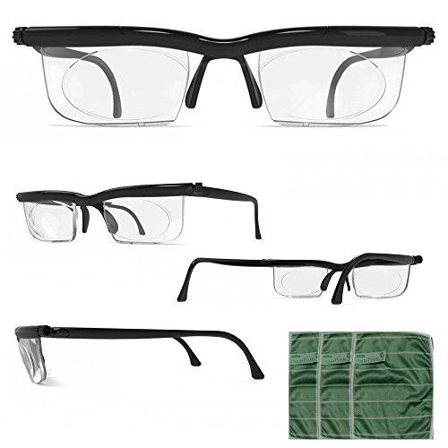 Heim & Büro Adlens® Brille mit Dioptrien individuell einstellbar Unisex Lesebrille Lesehilfe Sehhilfe + GRATIS Brillentücher 3er Set