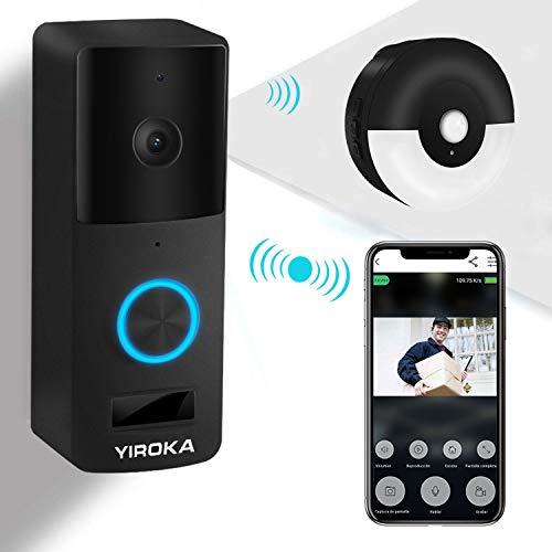 Video Türklingel Mit Kamera, YIROKA Video Doorbell Wifi Funk Gegensprechfunktion Bewegungsmelder Mit Monitor IP65 Wasserdichte 1080P HD Schwarz