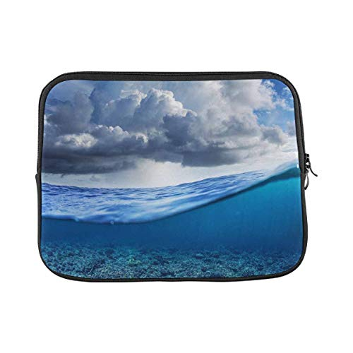 INTERESTPRINT Laptop Carrying Case Cover Indian Ocean Half Water Shoot with Cloudy Sky and Underwater World Notebook Computer Sleeve Bag 14 Inch 14.1 Inch