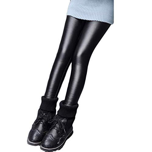 Runyue Mädchen Leggings Lederimitat Kinder Warme Leggins Verdicken Slim Fit Jeggings Leggins Hosen Schwarz1 140