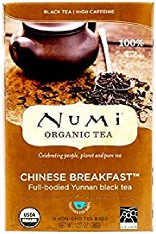 Numi Organic Tea Chinese Breakfast 18 Count Box Of Tea Bags Pack Of 3 Yunnan Black Tea