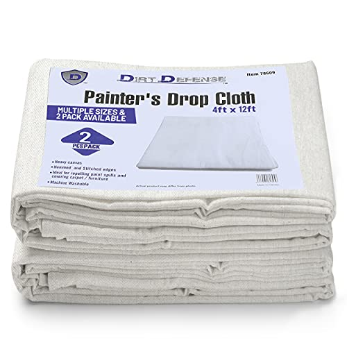 Pack of 2: Canvas Drop Cloth Cotton Tarp 4x12 Large Canvas Tarp for Art Supplies, Drop Cloths for Painting Supplies / Paint Canvas Fabric or Couch Cover and Furniture Cover from Paint by Dirt Defense