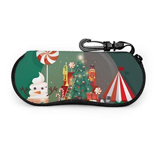 DAIDYA Brillenetui, Schneekugel Weihnachtsgrüße Vorlage Sonnenbrille Weichetui Ultraleichtes Neopren-Reißverschluss-Brillenetui mit Karabinerhaken, Brillenhalter