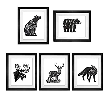 BEZALEL Vintage Dictionary Art Prints Animals Bear Moose Deer Fox Art Prints - Unframed Black and White Hand Painted 8  x10   Bear Paintings for Home Decor Wall Art Set of 5
