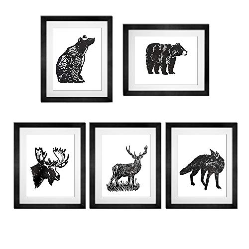 BEZALEL Vintage Dictionary Art Prints Animals Bear Moose Deer Fox Art Prints - Unframed Black and White Hand Painted 8''x10'' Bear Paintings for Home Decor Wall Art Set of 5