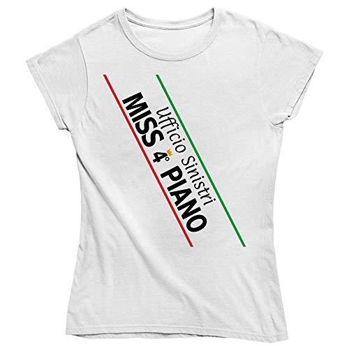 Vulfire Maglietta Donna Ufficio sinistri Miss 4° Piano (Bianco, S)