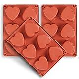 homEdge 6-Cavity Heart Silikonform, 3 Packungen Herzform zur Herstellung von handgemachter Seife,...