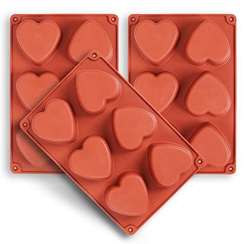 homEdge Moule en silicone en forme de cœur pour 6 cavités, 3 paquets de moules en forme de cœur pour la fabrication de savon artisanal, chocolat, bougies de savon et gelée brune