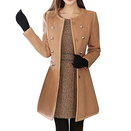 FRAUIT Pelzkragen Wollmantel Damen Abnehmbarer Pelzkragen Zweireiher Mantel Slim Fit Warm Mantel Herbst Winter Damen Revers Trenchcoat Parka