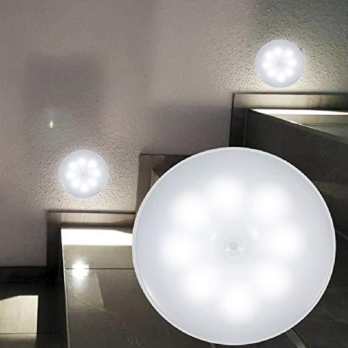 Luz Nocturna de LED con Sensor de Movimiento 6000k Luz Armario Lámpara 700mAh Ahorro de Energía Ligera de la Noche del LED del Enchufe Ideal para Dormitorio Baño Pasillo Escalera (2PCS)