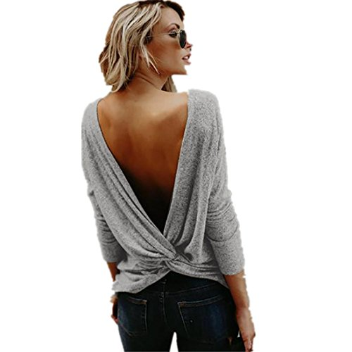 Kolylong® Sweatshirt Damen Frauen Elegant Rückenfreie Langarm Bluse Herbst Winter Warm Langarmshirts Rundhals Pullover Sweater Pulli T-Shirt Tops Oberteile (Grau, S)