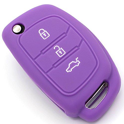 Funda de silicona para llave de coche de Finest-Folia con 3 botones, color lila