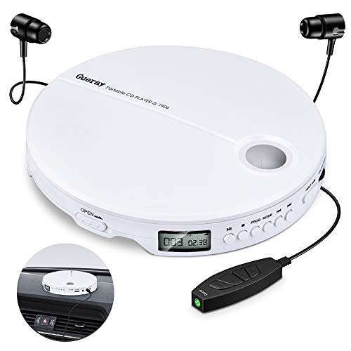Gueray Lettore CD Portatile HiFi Classic Personal CD Discman con Cuffia Protezione Anti-salto Display LCD Walkman Bianca