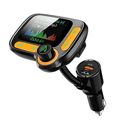 LJD 1,77-inch Auto FM Bluetooth, 5.0 MP3-speler handsfree dual USB QC 3.0 snellader geschikt voor TF-kaart/U Disk, Apple, Samsung