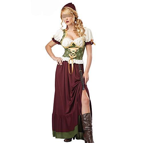 HALLOWEEN-COSTUMES Womens Oktoberfest Fancy Jurk Voor Volwassenen Duits Bier Maid Kostuum Festival Carnaval Party Kleine Fancy Dirndl Jurk Hoed Cap Cosplay Kleding