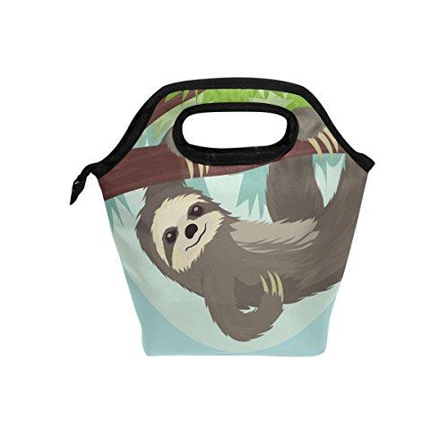 Funny Animal paresseux repas isotherme Sac fourre-tout pour femme Lunch Box Cooler avec fermeture à glissière pour adultes/enfants filles, garçons, hommes