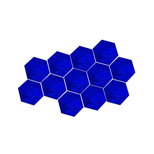 LPxdywlk 12Pcs 3D Mirror Hexagon Abnehmbare Wandaufkleber DIY Decal Home Decor Blau