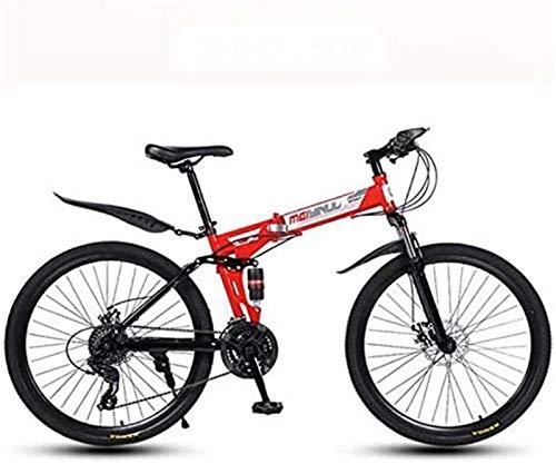 Bicicleta de carretera de la ciudad de cercanías, Bici de montaña plegable de bicicletas for hombres y mujeres adultos, acero de alto carbono de doble bastidor de suspensión, PVC pedales y apretones d