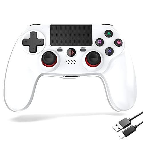 Mimall PS4 コントローラー 最新型 スピーカー ゲームパット搭載 Bluetooth接続 二重振動 600mAh プレステ4 コントローラー 高耐久ボタン 日本語取扱説明書 (ホワイト)