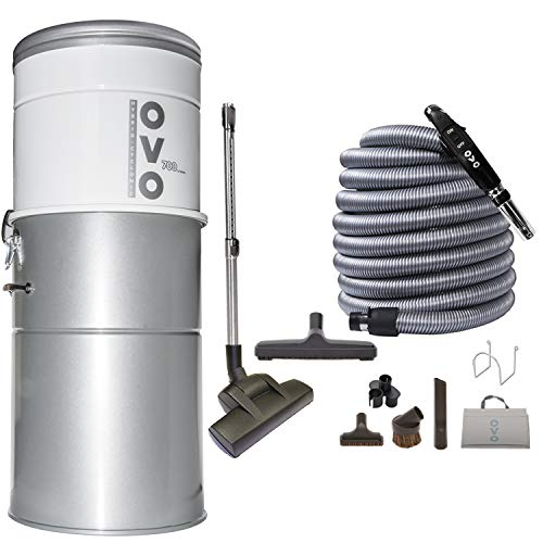 OVO PAK70DP-40 Heavy Duty Powerful Central Vacuum System, Hybrid Filtration (with or Without Disposable Bags) 35L or 9.25Gal, 700 Air watts with 40ft Deluxe Plus Accessory kit Included, Sliver