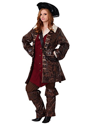 Adult Caribbean Pirate Costume Women's Plus Size Pirate - 3X Brown