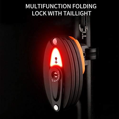 YEARGER Serrure Pliante Feux arrière de vélo Set de Vélo Moto Antivol Pliable Acier au manganèse Robuste Verrou de Sécurité - Facile à Transporter avec 2 clés et Support de