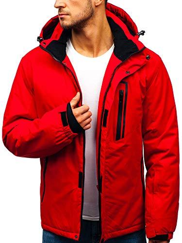 BOLF Herren Skijacke Winterjacke Steppjacke Sportjacke Funktionsjacke Schneefang Kapuze Sport Style RED Fireball HZ8107 Rot M [4D4]