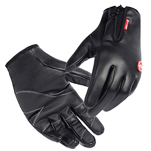 Gyubay Ski-Handschuhe im Freien Touchscreen Gleiten wasserdichte Windundurchlässige Warme Winterhandschuhe for Snowboarden Wandern Radsport Kletterplatte (Color : Black, Size : L)