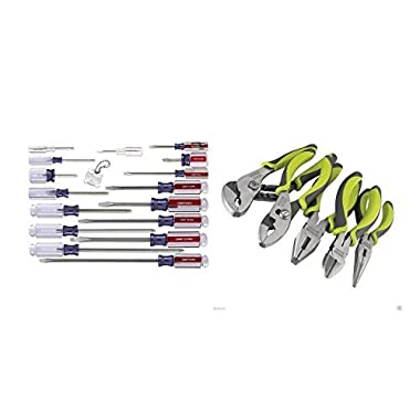 Craftsman 9-31794 Slotted Phillips 17 Piece Screwdriver Set and Craftsman 5 Pc.Craftsman Evolv Plier Bundle