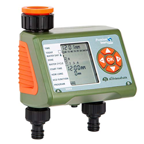 Ultranatura Doppel-Bewässerungscomputer mit LC-Display, ideal zur Blumenbewässerung, Rasenbewässerung etc, Bewässerungssteuerung mit Zwei Ausgängen und Vier Bewässerungszyklen, Urlaubsbewässerung