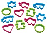 Let's Make Cookie Cutters for Kids with Star, Animal and Heart Shapes in Storage Tub, Plastic, Set of 12