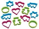 Kitchen Craft - Moldes para galletas con forma de dinosaurio (12 unidades), varios diseños distintos, multicolor