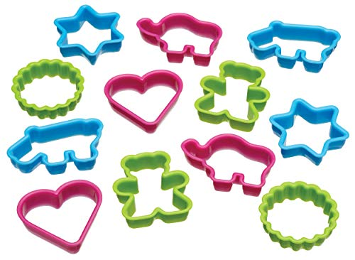 Kitchen Craft - Moldes para galletas con forma de dinosaurio (12 unidades), varios diseños distintos, multicolor