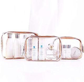 AUMA Clear Carry-On Travel Toiletry Bag, 3PCS Clear Makeup Bag, Waterproof PVC Cosmetic Pouch Organizer Quart Bag Zipper P...
