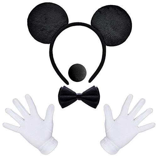 iZoeL Haarreifen mit Maus Ohren Schwarz + weiße Handschuhe + Nase + Fliege Schleife für Kinder Junge Damen Herren Karneval Fasching Fastnacht Kostüm Partys