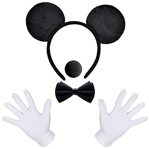 MOVINPE Mouse Ears Headband, White Gloves, Black Foam Nose, Bow Tie, Halloween Cosplay Costume Birthday Party for Boy Men Kids Adult (Black Mouse 5pcs)