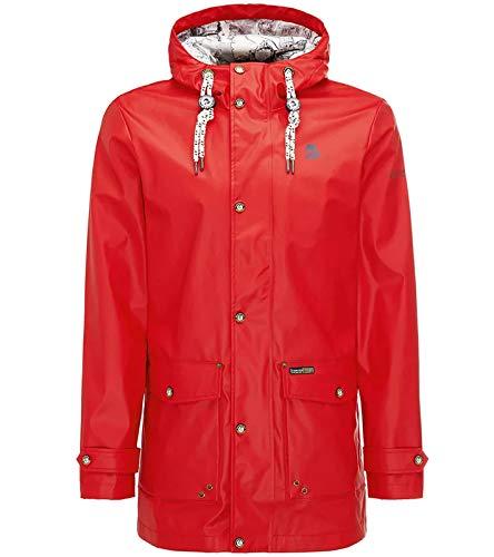 Schmuddelwedda Anorak leicht gefütterte Regen-Jacke für Herren Funktions-Jacke Freizeit-Jacke Rot, Größe:S