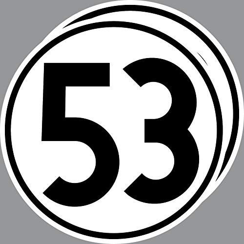 2 Aufkleber 20cm Startnummer 53 Sticker Auto Start Nummer Herbie VW Käfer Deko
