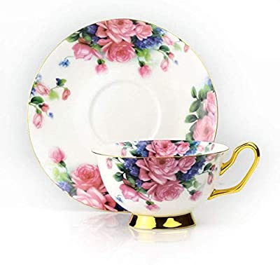 Pack of 4 Tea Cups and Saucers Set Fine Bone China Coffee Cups 6.8oz