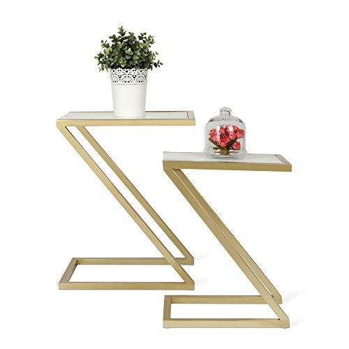 Penguin Home 3304 Estraibili Salotto-Piano Effetto Struttura in Acciaio Inossidabile-Tavolo Quadrato Rettangolare Tavolino da caffè-Casa e Ufficio Cornice Dorata-S / 2, Stone, Oro e Marmo, Set di 2